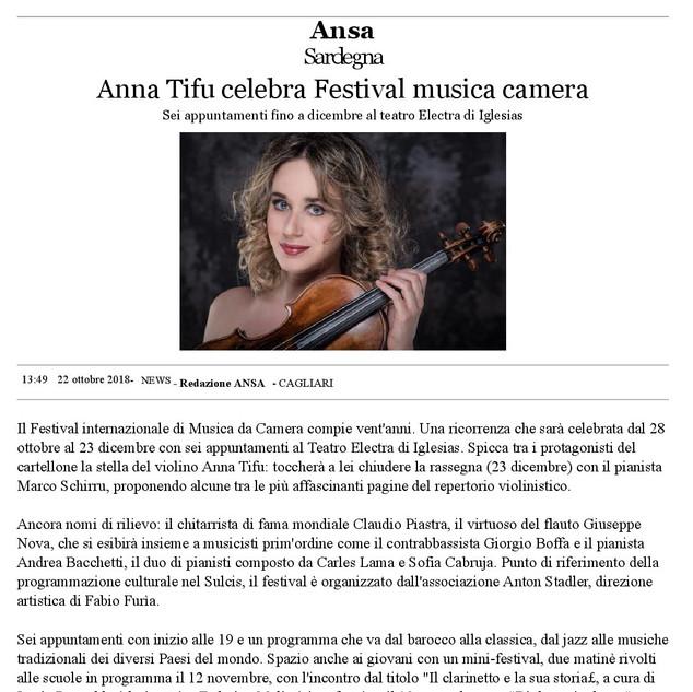 XX Festival Internazionale di Musica da Camera (ANSA)