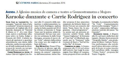 XVIII Festival Internazionale di Musica da Camera (Unione Sarda)