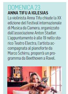 XX Festival Internazionale di Musica da Camera (Unione Sarda Weekend)