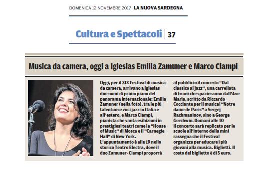 XIX Festival Internazionale di Musica da Camera (La Nuova Sardegna)