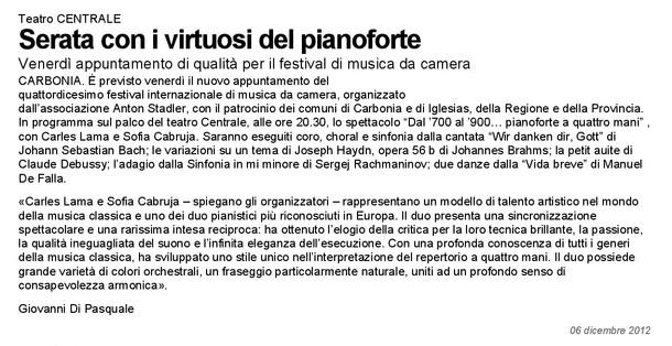 XIV Festival Internazionale di Musica da Camera (La Nuova Sardegna)