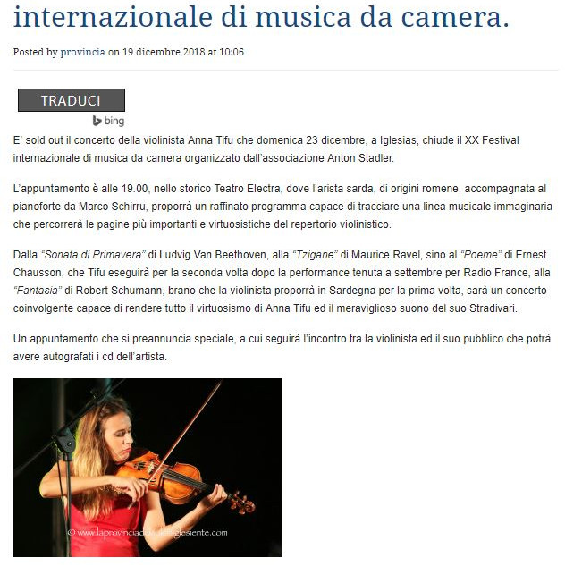 XX Festival Internazionale di Musica da Camera (La Provincia del Sulcis Iglesiante)