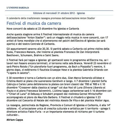 XIV Festival Internazionale di Musica da Camera (Unione Sarda)