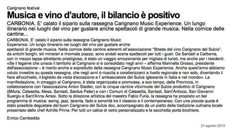 Carignano Music Experience (La Nuova Sardegna)