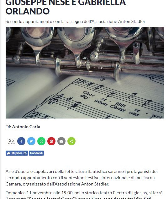 XX Festival Internazionale di Musica da Camera (Sardegna Live 2018)