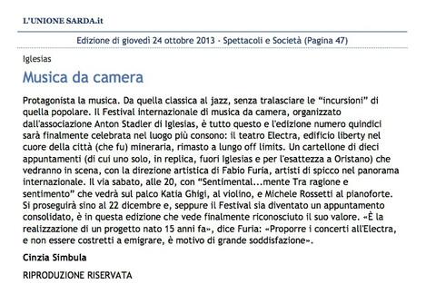 XV Festival Intenazionale di Musica da Camera (Unione Sarda)