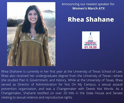 Rhea Shahane womens march texas rally.pn