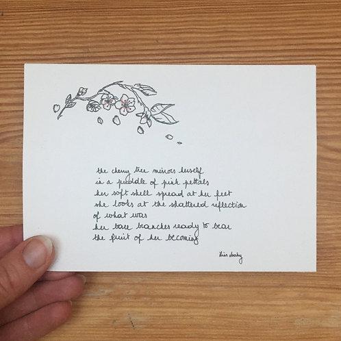 Single postcard cherry tree + envelope