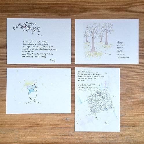 Set of 4 postcards one of each + envelopes