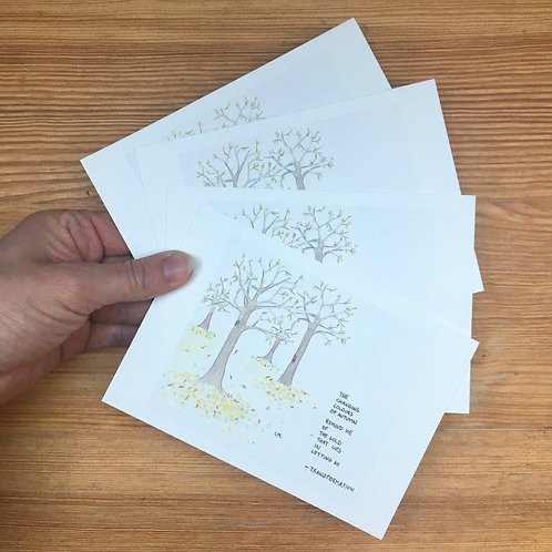 Set of 4 postcards letting go + envelopes