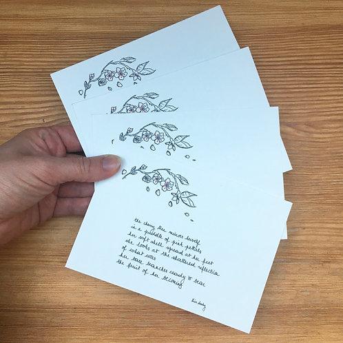 Set of 4 postcards cherry tree + envelopes