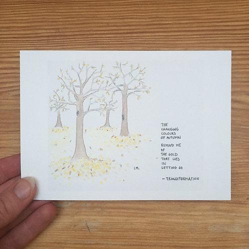 Single postcard letting go + envelope