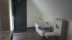 Mørkt bad med badekar og dusjnisje