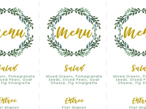 Holiday Dinner Menu Card + Place Card Template
