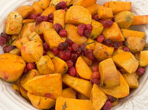 Roasted Sweet Potatoes with Fresh Cranberries