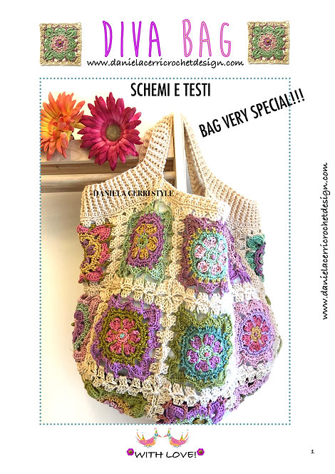 Diva Bag Boho Chic in total Granny Patch Pattern