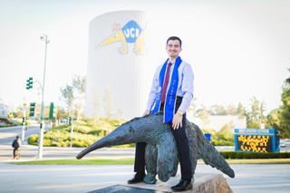 UCI Graduation Photos Riding Peter the A