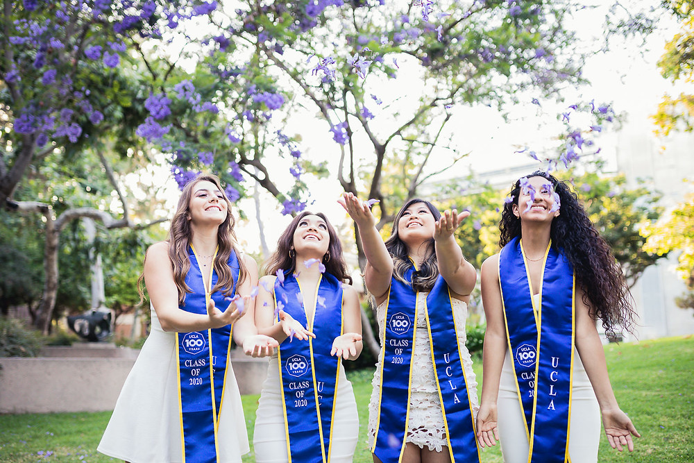 Jocelyn, Dominique, Marina, Joanna, and Nicole | UCLA Graduation Photos Purple Trees