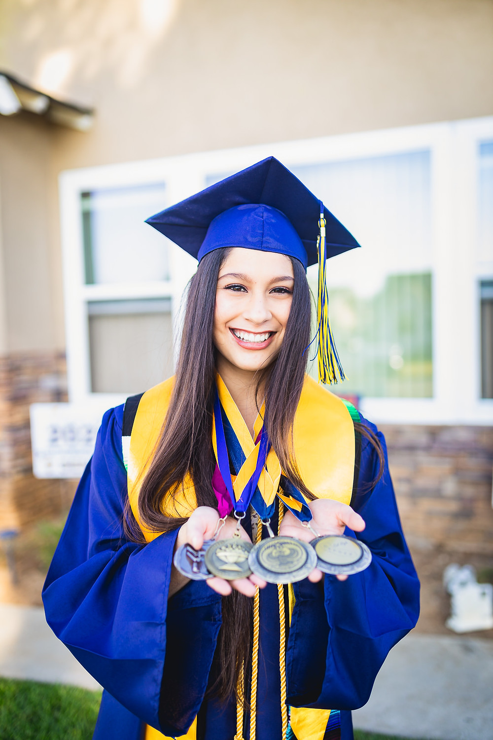 California High School Senior Photos Showing Medals