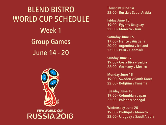 World Cup Live Games - Week 1
