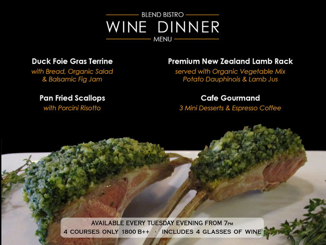 Special Wine Dinner Menu Every Tuesday Evening at Blend