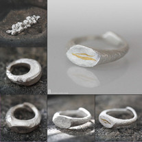 Pure Silver & Gold strip signet Ring