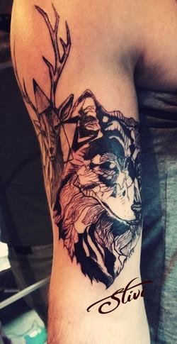 Deer & Wolf 1