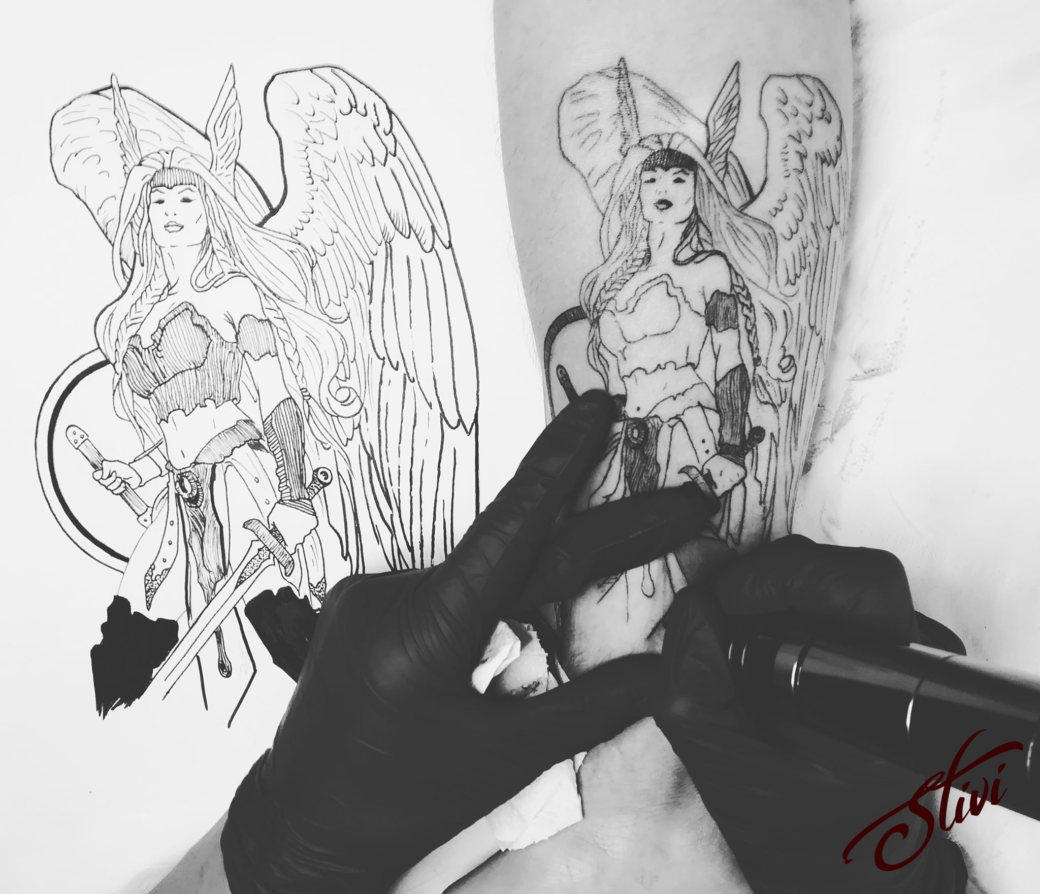 Valkyrie Tattoo work in progress
