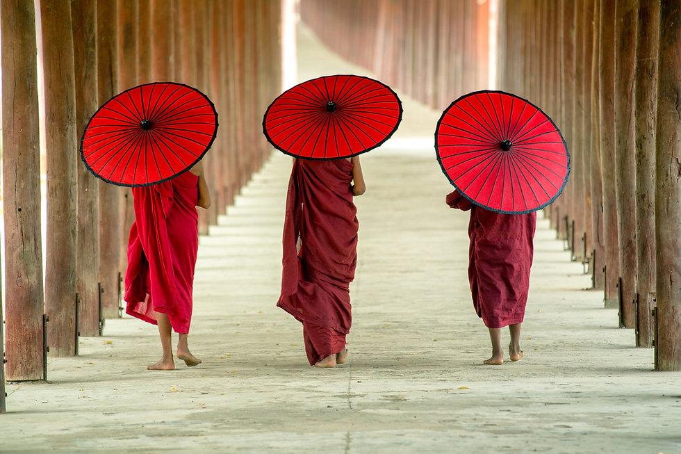 Buddhistische Mönche mit Regenschirmen