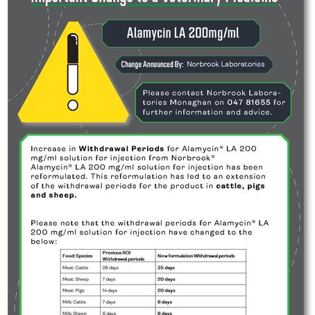 Alert: Alamycin LA and Betamox LA withdrawal period change