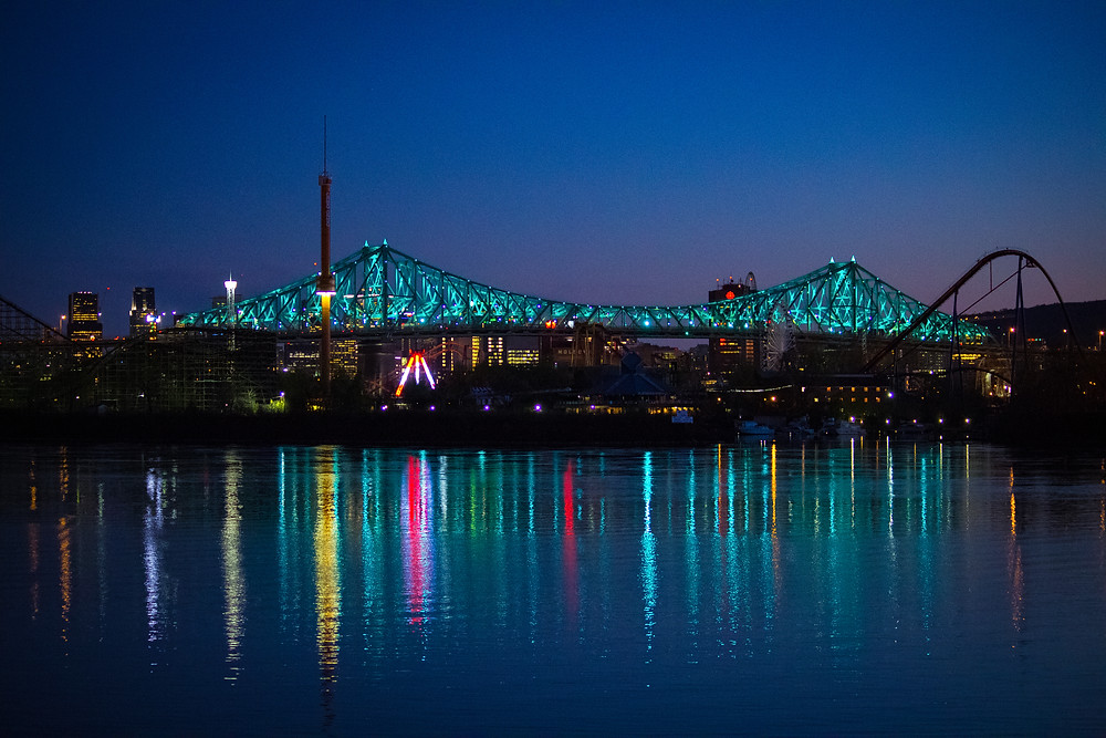 Montreal City Skyline from Longueuil with the Jacques Cartier Bridge