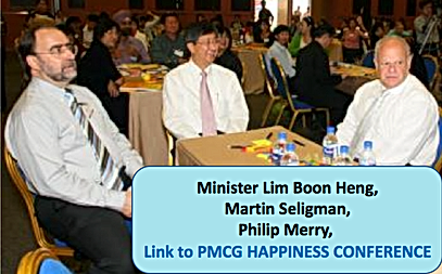Philip Merry with Singapore Minister Lim Boon Heng & Martin Seligman