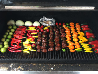 Roasting hot peppers from our garden