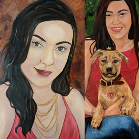 girl and dog, dual commission