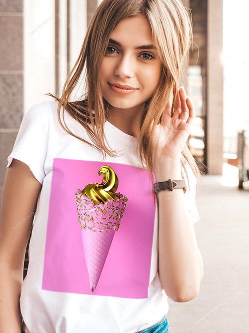 Футболка женская Мороженное розовый рожок