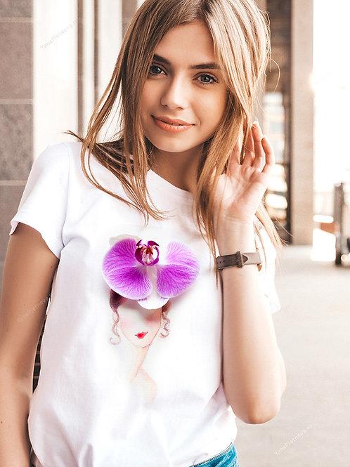 Футболка женская с принтом Девушка орхидея