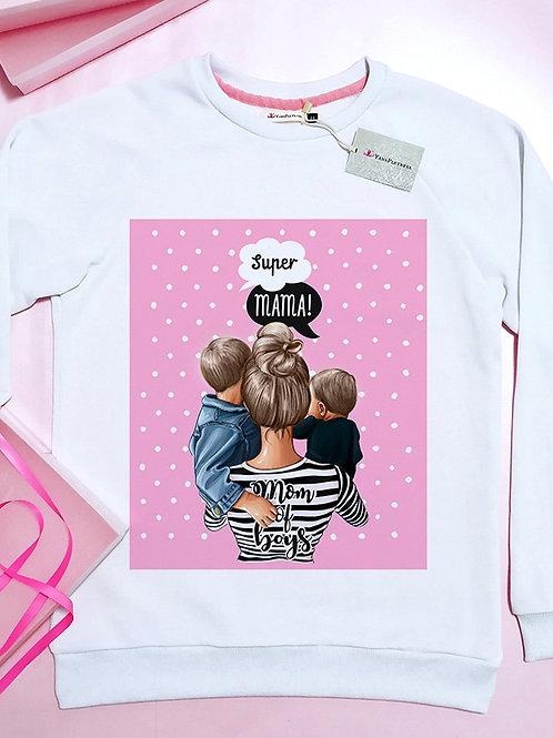 Свитшот Супер мама с сыновьями