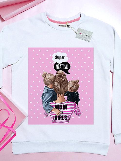 Свитшот Супер мама с дочками