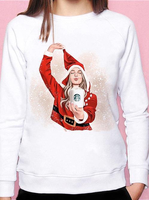 Свитшот девушка Санта клаус