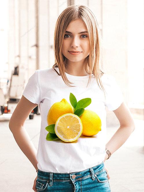 Футболка женская с принтом Сочный лимон