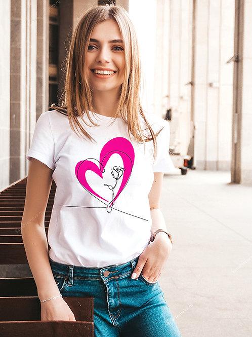 Футболка женская с принтом Сердце с розой