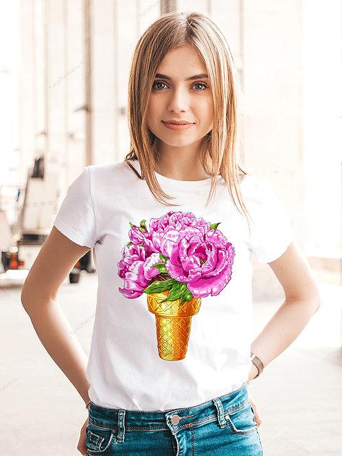 Футболка женская Цветочный рожок