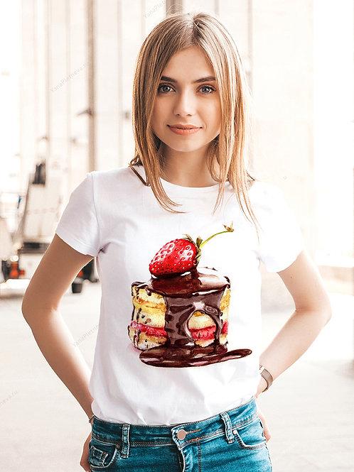 Футболка женская Шоколадное пирожное с фруктами