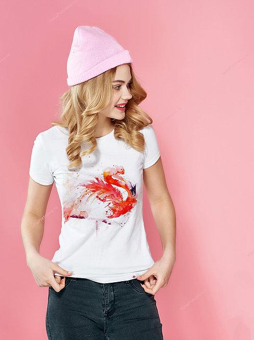Футболка женская с принтом Розовый фламинго