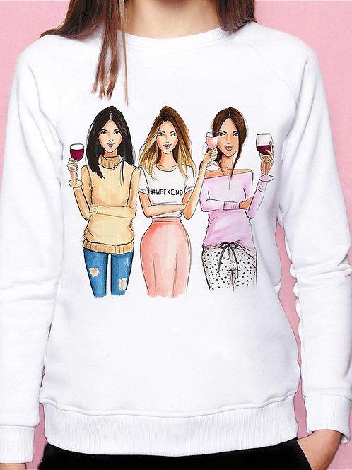 Свитшот Три девицы с вином