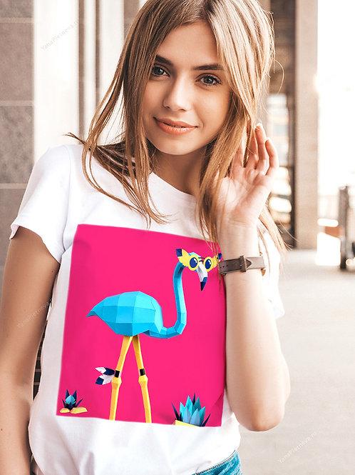 Футболка женская с принтом Голубой фламинго