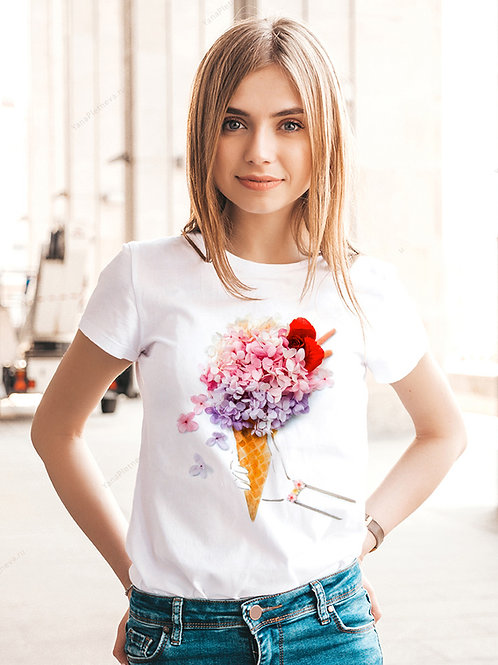 Футболка женская с принтом Цветочный рожок