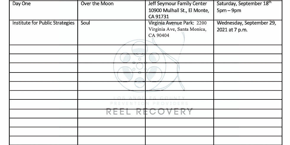 Reel Recovery Movie Schedule!