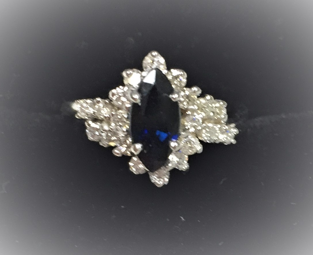 Marquise Sapphire and Diamond Fashion Ri