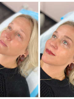 Lip tint and eyeliner